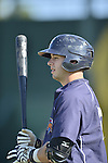 18 August 2012: Brooklyn Cyclones catcher Kevin Plawecki awaits his turn in the batting cage prior to a game against the Vermont Lake Monsters at Centennial Field in Burlington, Vermont. The Lake Monsters defeated the Cyclones 4-1 in NY Penn League action. Mandatory Credit: Ed Wolfstein Photo