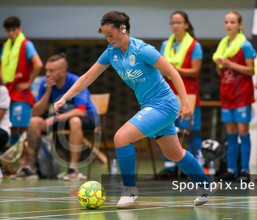 20190915– HALLE , BELGIUM : FP Halle-Gooik Girls A player Kiana De Bast is pictured during the Belgian Women's Futsal D1 match between FP Halle-Gooik A and FP Halle-Gooik B on Sunday 15th 2019 at the De Bres Sport Complex in Halle, Belgium. PHOTO SPORTPIX.BE | Sevil Oktem