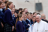Papa Francesco saluta un gruppo di studentesse al termine dell'udienza generale del mercoledi' in Piazza San Pietro, Citta' del Vaticano, 3 febbraio 2016.<br /> Pope Francis greets a group of students at the end of his weekly general audience in St. Peter's Square at the Vatican, 3 February 2016.<br /> UPDATE IMAGES PRESS/Riccardo De Luca<br /> <br /> STRICTLY ONLY FOR EDITORIAL USE