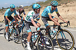 The peloton, including Miguel Angel Lopez Moreno (COL) Astana Pro Team wearing the Combined Jersey, in action during Stage 17 of the La Vuelta 2018, running 186.1km from Ejea de los Caballeros to Lleida, Spain. 13th September 2018.                   <br /> Picture: Unipublic/Photogomezsport | Cyclefile<br /> <br /> <br /> All photos usage must carry mandatory copyright credit (&copy; Cyclefile | Unipublic/Photogomezsport)