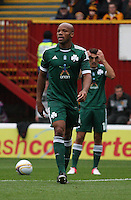 Former Rangers vavourite Jean-Alain Boumsong in the Motherwell v Panathinaikos UEFA Champions League 3rd Qualifying Round 1st Leg match at Fir Park, Motherwell on 31.7.12.
