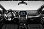 Stock photo of straight dashboard view of 2019 Dodge Grand-Caravan GT 5 Door Minivan Dashboard