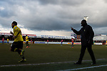 Dagenham and Redbridge 1 Burton Albion 3, 21/02/2015. Victoria Road, League Two. Jimmy Floyd Hasselbaink instructs from the technical area. Burton Albion moved to the top of League Two following a hard-fought win over Dagenham & Redbridge played in-front of 1,718 supporters. Photo by Simon Gill.