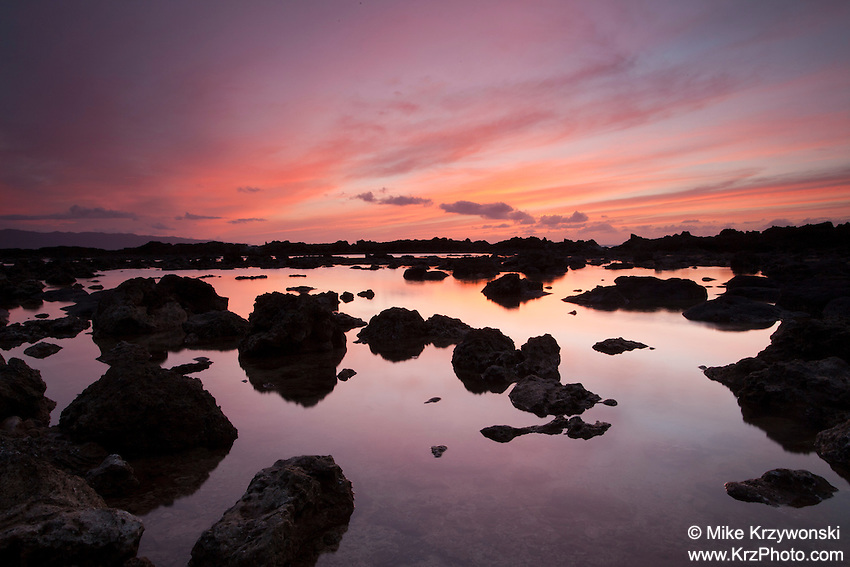 Orange sunset reflecting off of tide pool at Shark's Cove, Oahu