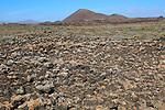 Rocky volcanic badlands 'malpais' landscape, Malpaís Grande national park, Fuerteventura, Canary Islands, Spain