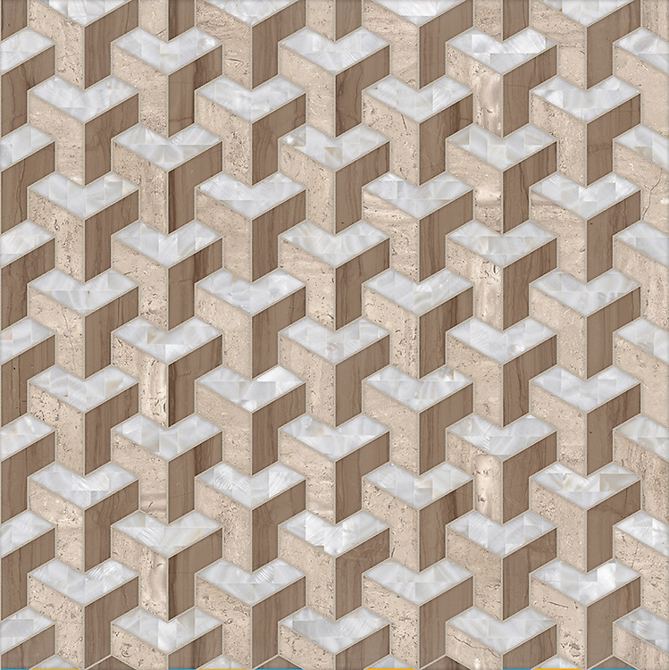 Francois, a waterjet stone mosaic, shown in honed Whitewood, polished Driftwood and Shell, is part of the Illusions™ Collection by New Ravenna.