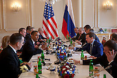 United States President Barack Obama, center-left, and President Dmitry Medvedev of Russia, center-right, attend the expanded delegation bilateral meeting at Prague Castle in Prague, Czech Republic, Thursday, April 8, 2010..Mandatory Credit: Pete Souza - White House via CNP