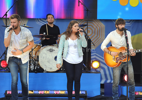 New York, NY- May 23: Charles Kelley, Hillary Scot and Dave Haywood of Lady Antebellum perform on Good Morning America in Central Park at Rumsey Playfield as part of the GMA 2014 Summer Concert Series on May 23, 2014 in New York City. Credit: John Palmer/MediaPunch