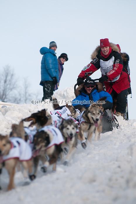 2010 Iditarod Ceremonial Start in Anchorage Alaska musher # 50 AILY ZIRKLE with Iditarider KEN PRIVATSKY