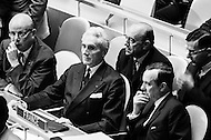 October 1968, Manhattan, New York City, New York State, USA --- French plenipotentiary ambassador to the U.S. Charles Lucet, French ambassador to the U.N. Armand Berard, and French Foreign Minister Michel Debre at the United Nations general assembly in New York. --- Image by © JP Laffont