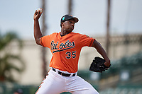 Baltimore Orioles pitcher Hector Guance (35) delivers a pitch during a Florida Instructional League game against the Pittsburgh Pirates on September 22, 2018 at Ed Smith Stadium in Sarasota, Florida.  (Mike Janes/Four Seam Images)