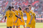 Jamie Maclaren of Australia celebrates scoring the team's first goal with teammates during the AFC Asian Cup UAE 2019 Group B match between Palestine (PLE) and Australia (AUS) at Rashid Stadium on 11 January 2019 in Dubai, United Arab Emirates. Photo by Marcio Rodrigo Machado / Power Sport Images