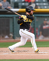 Nolan Fontana (4) of the Salt Lake Bees follows through on his swing against the Sacramento River Cats during the Pacific Coast League game at Smith's Ballpark on April 13, 2017 in Salt Lake City, Utah.Salt Lake defeated Sacramento 4-3.  (Stephen Smith/Four Seam Images)