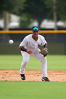 GCL Yankees East second baseman Jesus Graterol (6) fields a ground ball during the first game of a doubleheader against the GCL Yankees West on July 19, 2017 at the Yankees Minor League Complex in Tampa, Florida.  GCL Yankees West defeated the GCL Yankees East 11-2.  (Mike Janes/Four Seam Images)