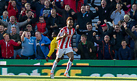 Eric Maxim Choupo-Moting of Stoke City celebrates his goal during the Premier League match between Stoke City and Manchester United at the Britannia Stadium, Stoke-on-Trent, England on 9 September 2017. Photo by Andy Rowland.