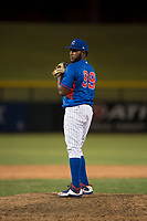 AZL Cubs 2 relief pitcher Andry Rondon (99) prepares to deliver a pitch during an Arizona League game against the AZL Rangers at Sloan Park on July 7, 2018 in Mesa, Arizona. AZL Rangers defeated AZL Cubs 2 11-2. (Zachary Lucy/Four Seam Images)