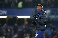 Chelsea's Tammy Abraham celebrates their victory at the final whistle during Chelsea vs Aston Villa, Premier League Football at Stamford Bridge on 4th December 2019