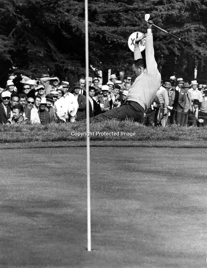 Billy Casper sinks a shot out of the bunker for a birdie on the 17th hole at the Olympic Club in San Francisco during the 1966 U.S.Open Golf Championship..Won by Casper in a playoff against Arnold Palmer..(1966 copyright by Ron Riesterer)