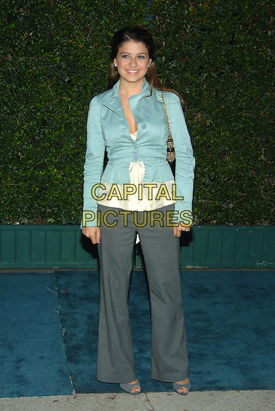 ALIA SHAWKAT.14th Annual Environmental Media Association Awards held at the Wilshire Ebell Theatre..17 November 2004 .full length, blue, tuquoise jacket, buttons, tight, grey, gray trousers.www.capitalpictures.com.sales@capitalpictures.com.© Capital Pictures.
