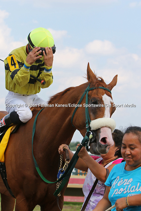 August 29, 2015. Pleiadian, Pierre Hernandez up, wins race 6. Undercard races and scenes around the track on Smarty Jones Stakes Day at  Parx Racing in Bensalem, PA.  (Joan Fairman Kanes/ESW/CSM)