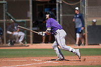 Colorado Rockies second baseman Max George (3) starts down the first base line during an Extended Spring Training game against the San Diego Padres at Peoria Sports Complex on March 30, 2018 in Peoria, Arizona. (Zachary Lucy/Four Seam Images)