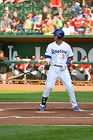 Ivan Vela (3) of the Ogden Raptors at bat against the Idaho Falls Chukars in Pioneer League action at Lindquist Field on July 26, 2014 in Ogden, Utah.  (Stephen Smith/Four Seam Images)