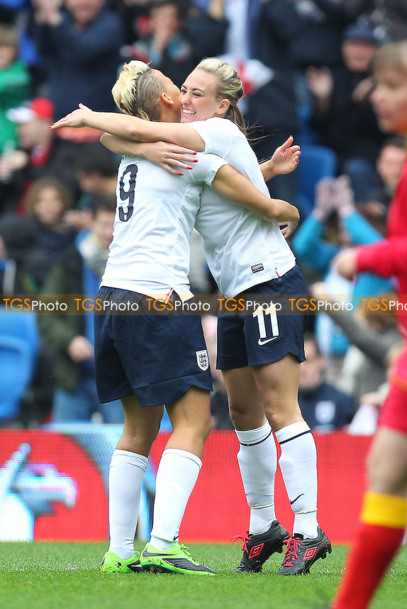 Toni Duggan (R) celebrates scoring the first goal for England with Lianne Sanderson - England Women vs Montenegro Women - FIFA Womens World Cup 2015 Qualifying Group 6 Football at The Amex, Falmer Stadium, Brighton & Hove Albion FC - 05/04/14 - MANDATORY CREDIT: Gavin Ellis/TGSPHOTO - Self billing applies where appropriate - 0845 094 6026 - contact@tgsphoto.co.uk - NO UNPAID USE