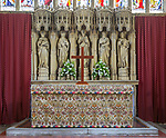 Church of Saint Mary, Berkeley, Gloucestershire, England, UK high altar with reredos 1881