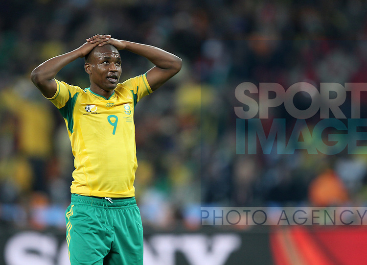 South Africa's Katlego Mphela looks on dejected after a miss