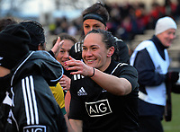 Portia Woodman shakes hands after the 2017 International Women's Rugby Series rugby match between the NZ Black Ferns and Australia Wallaroos at Rugby Park in Christchurch, New Zealand on Tuesday, 13 June 2017. Photo: Dave Lintott / lintottphoto.co.nz
