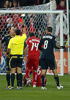 15 April 2010: Philadelphia Union defender Danny Califf #4 recives a red card after a hard tackle on Toronto FC midfielder Julian de Guzman #6 during a game between the Philadelphia Union and Toronto FC at BMO Field in Toronto..Toronto FC won 2-1..Photo by Nick Turchiaro/isiphotos.com........12 September 2009:Toronto FC forward Chad Barrett # 19 takes the ball up field during MLS action at BMO Field Toronto in a game between Colorado Rapids and Toronto FC. .Photo by Nick Turchiaro/isiphotos.comApril 12 2010: Chicago White Sox second baseman Gordon Beckham #15 and Chicago White Sox shortstop Omar Vizquel #11celebrate the win during the Toronto Blue Jays home opener between the Chicago White Sox and the Toronto Blue Jays at Rogers Centre in Toronto, Ontario..The White Sox won 8-7 in 11 innings.........11 April 2009:Toronto FC forward Chad Barrett # 19 takes the ball up field during MLS action at BMO Field Toronto, in a game between FC Dallas and Toronto FC. .Toronto FC won 2-1.