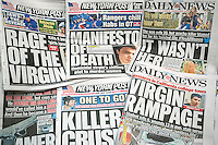 Front pages over several days of New York tabloid newspapers report on the  mass murders in Isla Vista, CA allegedly by Elliot Rodger. Rodger killed himself after allegedly murdering six people and wounding 13 because he was enraged that he was still a virgin and women did not want to have sex with him.  (© Richard B. Levine)