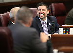 Nevada Sen. Mark Manendo, D-Las Vegas, works on the Senate floor at the Legislative Building in Carson City, Nev., on Thursday, April 9, 2015. <br /> Photo by Cathleen Allison