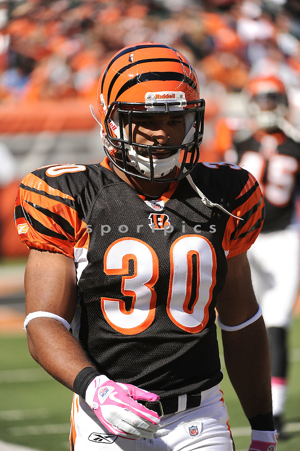 CEDRIC PEERMAN, of the Cincinnati Bengals in action during the Bengals game against the Buffalo Bills on October 2, 2011 at Paul Brown Stadium in Cincinnati, OH. The Bengals beat the Bills 23-20.