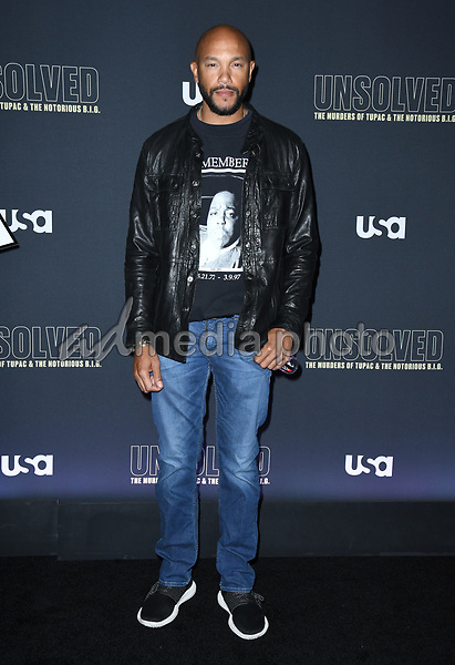 "22 February 2018 - Hollywood, California - Stephen Bishop. USA Network's ""Unsolved: The Murders of Tupac & The Notorious B.I.G."" held at Avalon Hollywood. Photo Credit: Birdie Thompson/AdMedia"