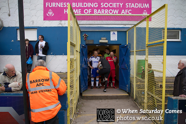 Barrow AFC 0 Newport County 3, 15/09/2012. Furness Building Society Stadium, Football Conference. The two teams standing in the tunnel with the referee at Barrow AFC's Furness Building Society Stadium prior to the delayed kick-off of the Barrow (white shirts) v Newport County Conference National Fixture. Newport County eventually won the match by 3-0, watched by 802 spectators. Both Barrow and Newport County from Wales were former members of the Football League in England. Photo by Colin McPherson.