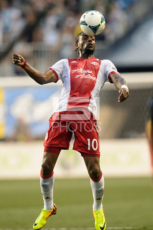Frederic Piquionne (10) of the Portland Timbers during a Major League Soccer (MLS) match against the Philadelphia Union at PPL Park in Chester, PA, on July 20, 2013.