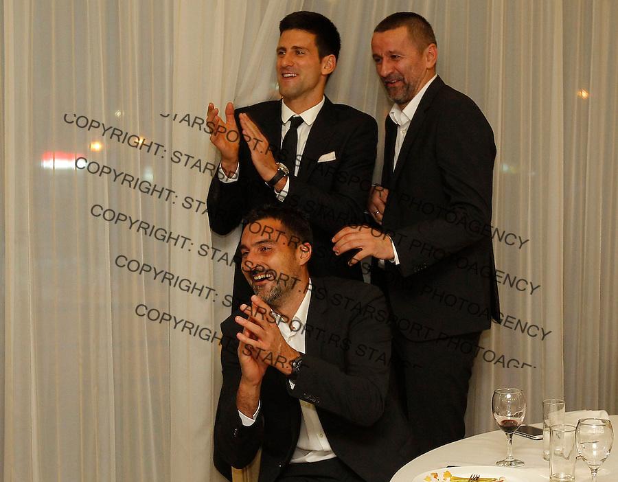Davis Cup 2014 first round<br /> Srbija v Hrvatska<br /> Official Dinner<br /> Nenad Zimonjic Novak Djokovic and Bogdan Obradovic<br /> Kraljevo, 04.03.2015.<br /> Foto: Srdjan Stevanovic/Starsportphoto.com&copy;