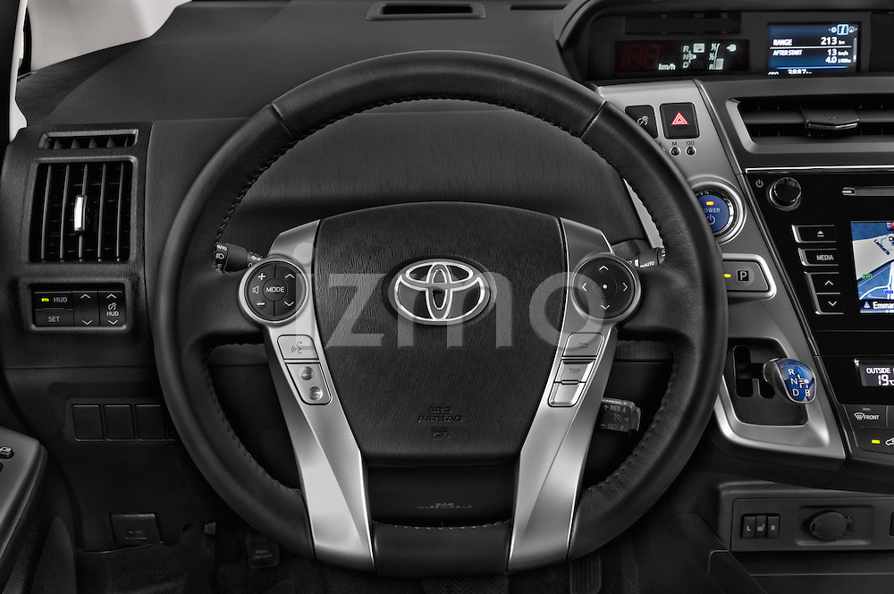 Car pictures of steering wheel view of a 2015 Toyota Grand Prius+ 5 Door Mini Van
