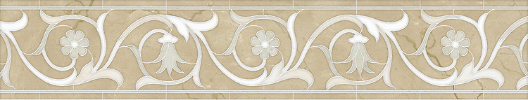 "8"" Naomi border, a hand-cut mosaic shown in polished Crema Marfil, Thassos, Heavenly Cream, and Cloud Nine by New Ravenna."
