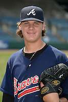 Cole Sands (26) of North Florida Christian School in Tallahassee, Florida poses for a photo while playing for the Atlanta Braves scout team during the East Coast Pro Showcase on August 2, 2014 at NBT Bank Stadium in Syracuse, New York.  (Mike Janes/Four Seam Images)