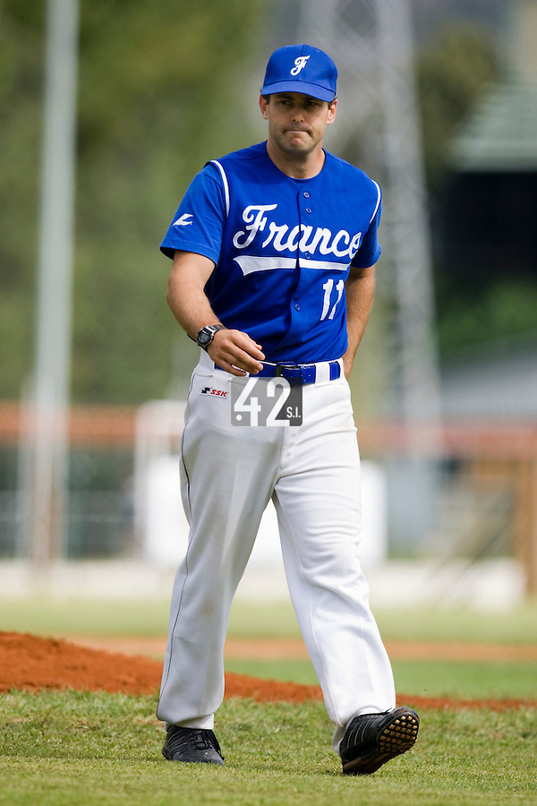 BASEBALL - EUROPEAN UNDER -21 CHAMPIONSHIP - PAMPELUNE (ESP) - 03 TO 07/09/2008 - PHOTO : CHRISTOPHE ELISE .BELGIUM VS FRANCE (WINNER 7-3) - PITCHING COACH PATRICE BRIONES (FRANCE)