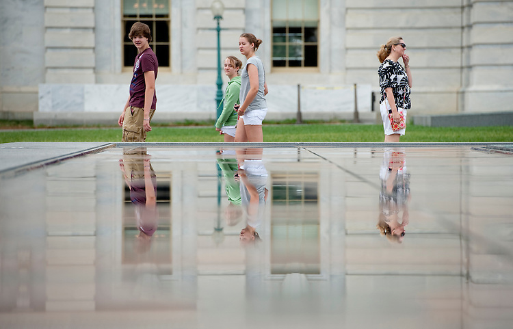 UNITED STATES - JUNE 20: Tourists walk by the skylights above the Capitol Visitors Center on Monday, June 20, 2011. The skylights have been in a state of almost constant repair since the CVC opened. (Photo By Bill Clark/Roll Call)