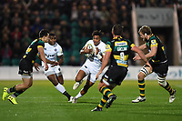 Anthony Watson of Bath Rugby in possession. Aviva Premiership match, between Northampton Saints and Bath Rugby on September 15, 2017 at Franklin's Gardens in Northampton, England. Photo by: Patrick Khachfe / Onside Images