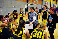 Action from the 2017 A Girls' Secondary Schools Basketball Premiership National Championship match between Aquinas College (navy and yellow, pictured) and Te Aroha College (maroon) at the B&M Centre in Palmerston North, New Zealand on Tuesday, 3 October 2017. Photo: Dave Lintott / lintottphoto.co.nz
