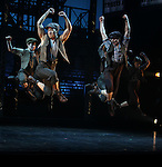 Ensemble Featuring: Alex Wong & Kyle Coffman.during the 'NEWSIES' Opening Night Curtain Call at the Nederlander Theatre in New York on 3/29/2012