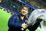 Shinji Okazaki (JPN),<br /> MARCH 29, 2016 - Football / Soccer :<br /> Shinji Okazaki of Japan celebrates his 100th international cap with a bouquet of flowers after the FIFA World Cup Russia 2018 Asian Qualifier Second Round Group E match between Japan 5-0 Syria at Saitama Stadium 2002 in Saitama, Japan. (Photo by Kenzaburo Matsuoka/AFLO)