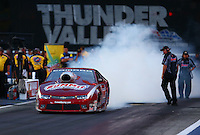 Jun 19, 2015; Bristol, TN, USA; NHRA pro stock driver Greg Anderson during qualifying for the Thunder Valley Nationals at Bristol Dragway. Mandatory Credit: Mark J. Rebilas-