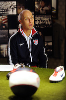 USA National Team Head Coach Bob Bradley is interviewed prior to the unveiling of the USA Men's National Team new uniform at Niketown in NYC, NY, on April 29, 2010.