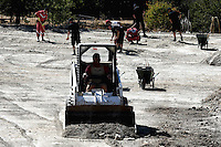 Pictured: A small digger in the field where a search is ongoing in Kos, Greece. Thursday 29 September 2016<br /> Re: Police teams searching for missing toddler Ben Needham on the Greek island of Kos have said they are &quot;optimistic&quot; about new excavation work.<br /> Ben, from Sheffield, was 21 months old when he disappeared on 24 July 1991 during a family holiday.<br /> Digging has begun at a new site after a fresh line of inquiry suggested he could have been crushed by a digger.<br /> South Yorkshire Police (SYP) said it continued to keep an &quot;open mind&quot; about what happened to Ben.